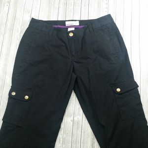 Old Navy Cargo Canvas Pants Women's Size 6 Blk/T4
